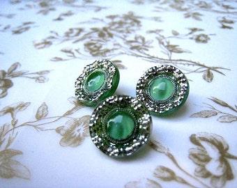 Three Vintage Green Buttons Plastic Moonstone Center Shank Button Craft Button Garment button