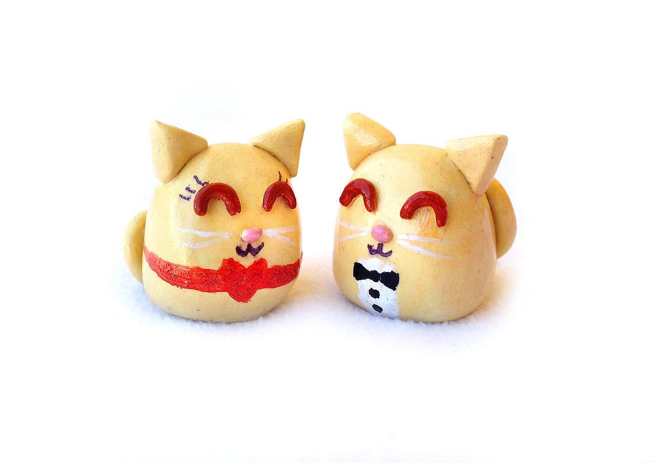 Cat Wedding Cake Topper Cute Cat Couple Kawaii Polymer Clay
