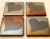 Rainbow iridescent fused glass heart coaster tile