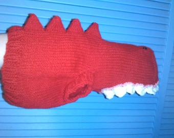 Hand Knit One-Size-Fits-Most Red Dinosaur Costume for Cats or Small Dogs