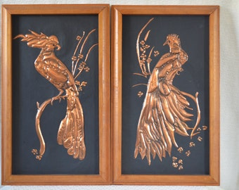 Pair of Copper Parrot / Bird of Paradise 3 Dimensional Pictures