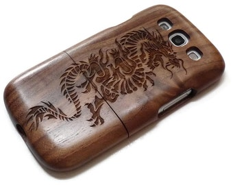 wooden Samsung Galaxy S3  case - wooden S3 case walnut / cherry or bamboo -  Dragon