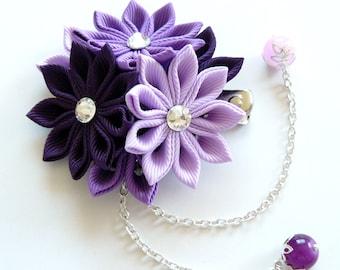 Kanzashi fabric flower hair clip. Shades of purple.