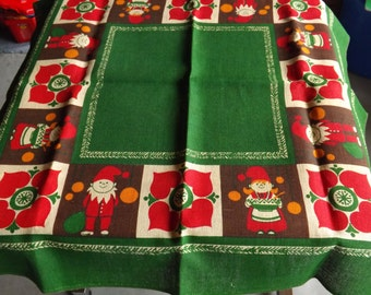 Vintage Christmas Holiday Table Cloth for Card Table