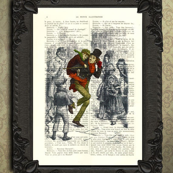 A Christmas Carol Print Tiny Tim Color Illustration Charles