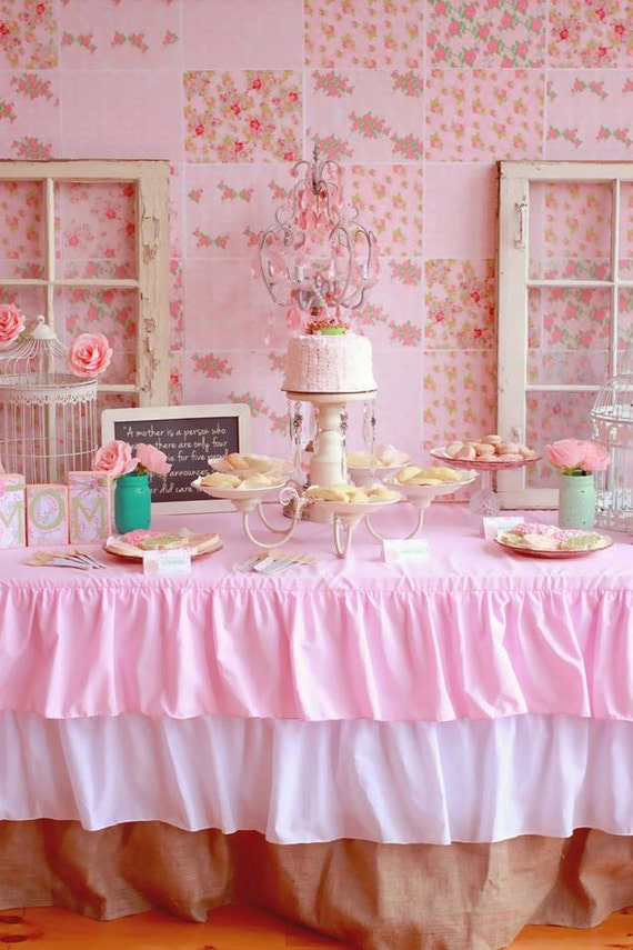 Ruffled Pink Burlap Tablecloth By CandyCrushEvents On Etsy