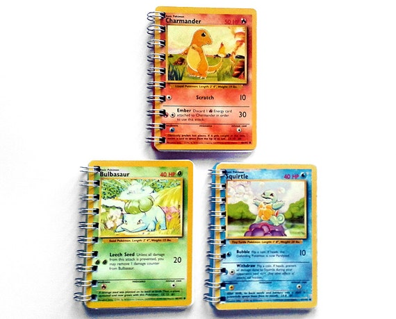 Pokemon card sketchbooks: starter pokemon set (Squirtle, Charmander and Bulbasaur)
