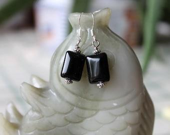 Black Rectangle Onyx Earrings, sterling silver hook