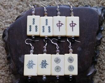 Four Pair Mahjong Tile OX Bone Earrings, sterling silver hook