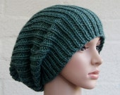 Chunky knit Beanie in Green/ knitted hat for Men/ Chunky knit slouchy hat/ winter hat/Slouchy Beanie