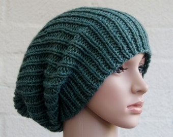 Knitting Pattern For Men s Stocking Cap : Green knit hat Etsy