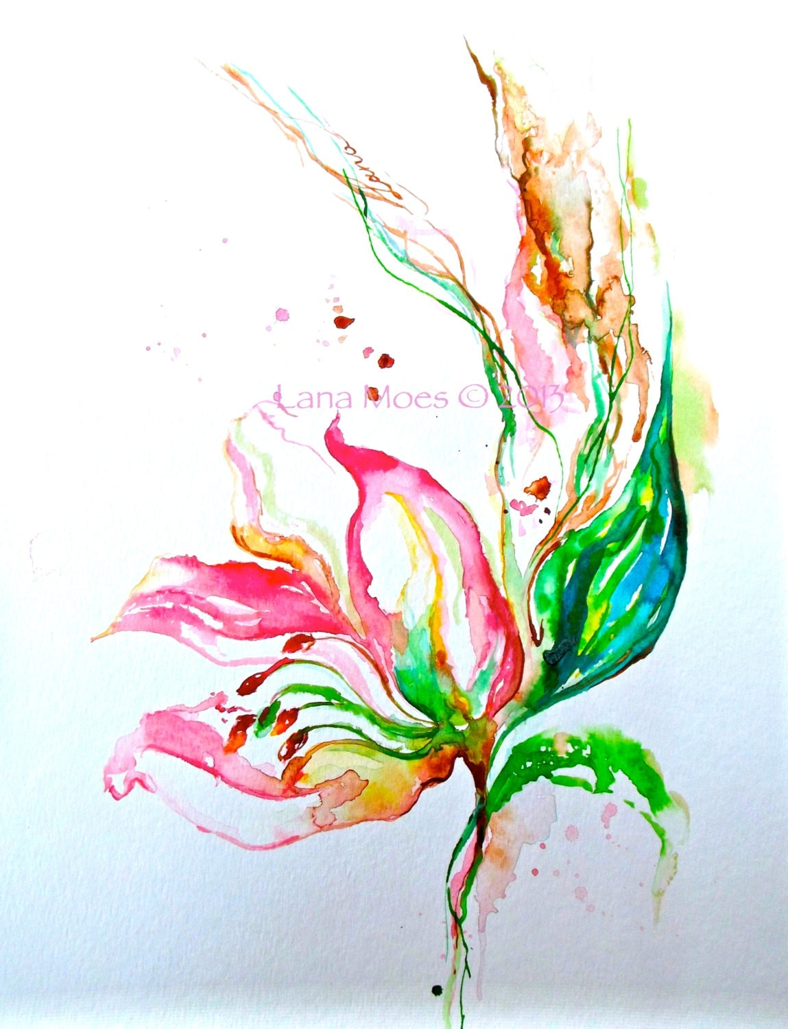 Pink Flowers Painting Abstract Original Watercolor Coral