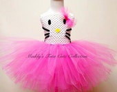 Hello Kitty Inspired Tutu Dress with headband - Sizes: Newborn, 6-24 months , and 2T-5T