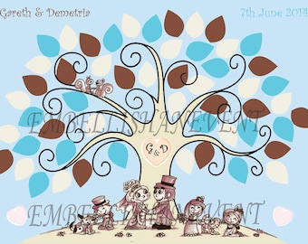 A3 wedding Finger print  tree guestbook with leaves for signatures or finger prints ink pads or pens included