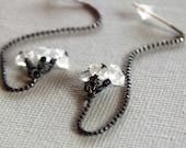 Herkimer diamond earrings, silver threader earrings, dangle earrings, silver chain earrings, raw stone, long earrings, oxidized silver,