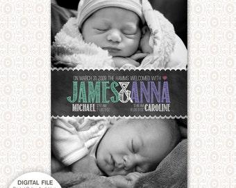 Twins Birth Announcement - Chalkboard
