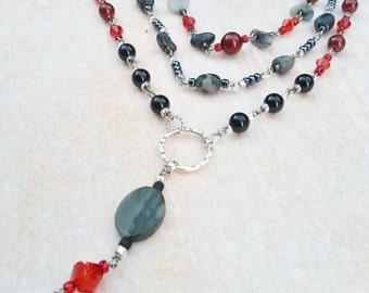 Necklace Black Red Swarovski Pearls Stones Gift