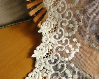 off White lace trim, embroidered gauze lace, antique lace trim, vintage lace fabric, rose floral lace trim