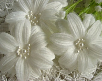 OFF white daisy flowers, fabric flowers, chic rosette, bridal sash, corsage, hair flowers accessories, 3 pcs