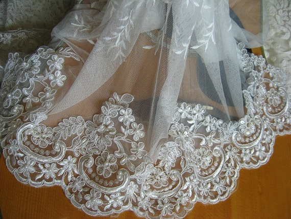 Pearl beaded lace trim ivory alencon lace trim scalloped for Wedding dress trim beading