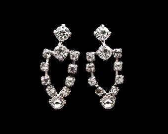 Vintage Rhinestone Dangle Earrings - Classic Beauty