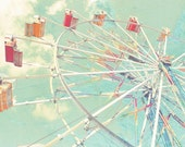Nursery Photographic Art Print, Carnival Fair Ferris Wheel Pastel Playroom Photography Children's Decor Cheerful Whimsical Art Minty Decor
