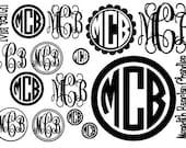 Full Page of Vinyl Monogram Stickers