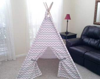 Teepee Pink Gray and White Chevron Play Tent Also in Lilac , Yellow and Mint Made to Order