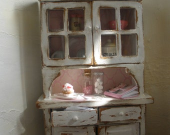 1/12 Cupboard | Shabby chic style | Cottage style | Dollhouse miniature furniture | Kitchen | Living room