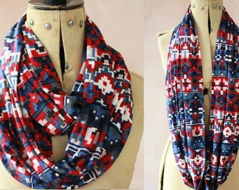 XL Eternity scarf - Infinity scarf, Circle scarf, Jersey scarf, Tube scarf, Loop scarf, Snood, T-Shirt scarf -  Red_Print002