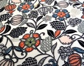 JAPANESE JACOBEAN  // Vintage  Kimono SiLK  fabric panel //  Exquisite pattern in  Shades of Grey & Coral //  13.5 x 42  inches