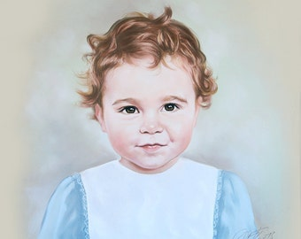 Pastel portrait of a little boy, 19,5 x 19,5 Inches