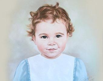 Pastel portrait of a little boy, 19,5 x 19,5 Inches