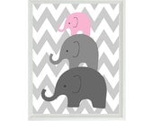 Elephant Nursery Wall Art Chevron  - Mom Baby Dad Family Pink Gray Decor - Children Kid Baby Room - Wall Art Home Decor  Print