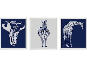 Nursery Wall Art Prints - Elephant Giraffe Zebra - Navy Gray Decor Silhouette - Modern Nursery Baby Boy Safari Home Decor set -