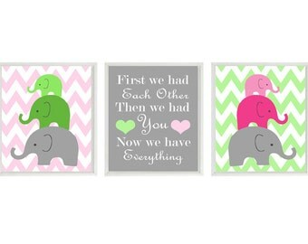 Elephant Nursery Art Print Set  - Family Mom Dad Baby Chevron  - First We Had Each Other Quote - Modern Baby Room - Wall Art Home Decor
