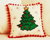 Appliqued Felt Christmas Tree on Canvas Pom Pom Pillow, Holiday Decor - TheBusyElfWorkshop