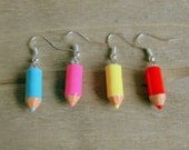 Cute Pencil Crayon Earrings - Bright Fun Quirky Jewellery / Jewelry - Pink Yellow Mint Pastel Blue Green Red - Gift for teachers / students