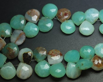 13 Pcs of Extremely Beautiful,Super Rare Item,Peruvian Blue Opal Faceted Heart Shape Briolettes 14-16mm Large
