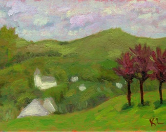 Original Plein Air Landscape Alla Prima Tonal Oil Painting Small Size green spring pink