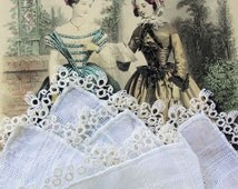 Lovely Antique Handkerchief Hanky HAND TATTED LACE Tatting Fine Irish Linen Perfect For Bride To Be Special Wedding Hankie