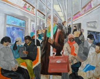 New York City Subway Commuters - 18x24 Original Acrylic Painting of People Riding Subway Train