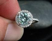 Aquamarine Engagement Ring Aquamarine Wedding Ring with 9mm Round Aquamarine and Diamond Halo Ring in 14 Rose Gold