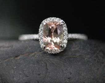 White Gold Morganite Engagement Ring in 14k Morganite Cushion 8x6mm and Diamond Ring