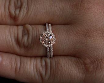 14k rose gold 6mm morganite round single cushion halo diamond ring and wedding band set - Wedding Band For Halo Ring