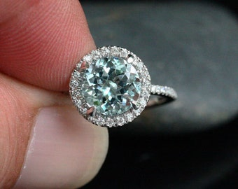 Aquamarine Engagement Ring Aquamarine Wedding Ring with 9mm Round Aquamarine  and Diamond Halo Ring in 14 Rose Gold