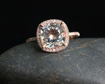 White Topaz Engagement Ring Diamond Ring, White Topaz Cushion 9mm in 14k Rose Gold with Diamonds