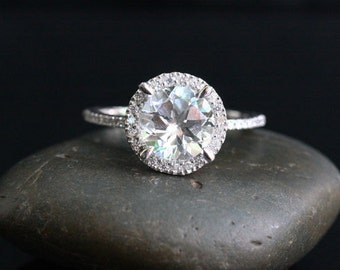 White Topaz Diamond Halo Ring 14k White Gold with White Topaz Round 8mm and Diamonds
