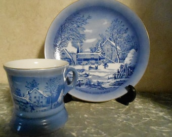 1940's Currier & Ives Collector's Matching Plate and Cup