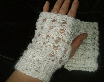 Fingerless gloves, wristwarmers. Lace ,  white, mohair  with sequins FREE shipping